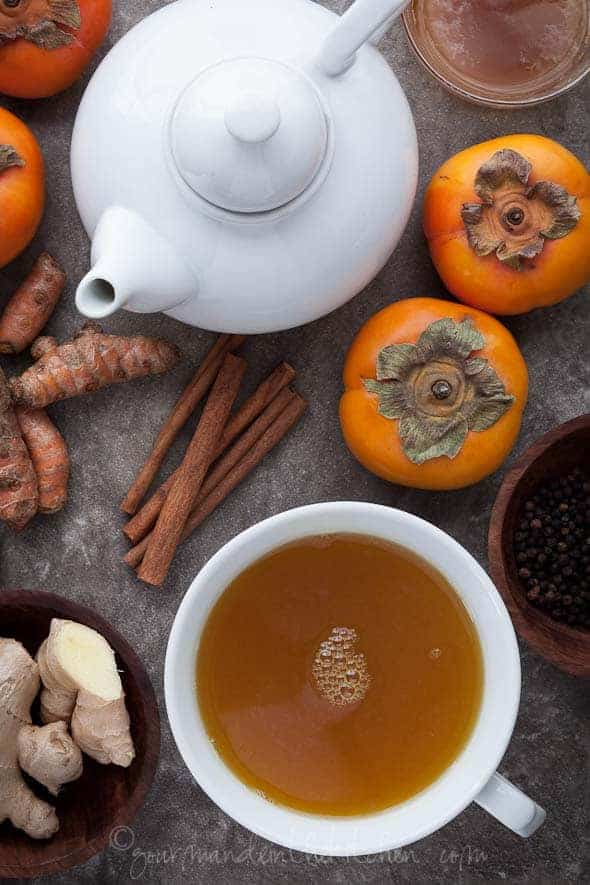 Spiced Persimmon Turmeric Tea Recipe Gourmande in the Kitchen Spiced Persimmon Turmeric Tea