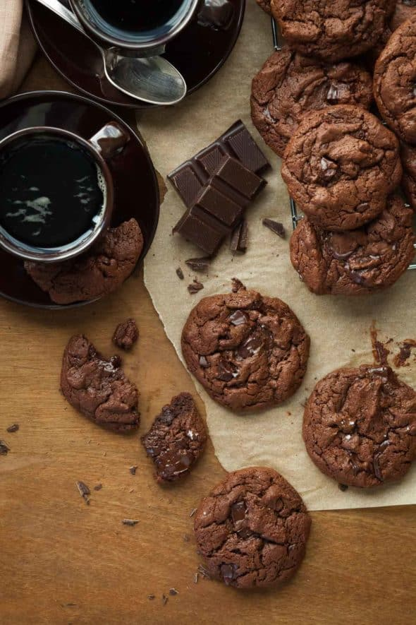 Deep, dark and rich, these gluten-free, paleo double chocolate cookies are for true chocolate lovers.