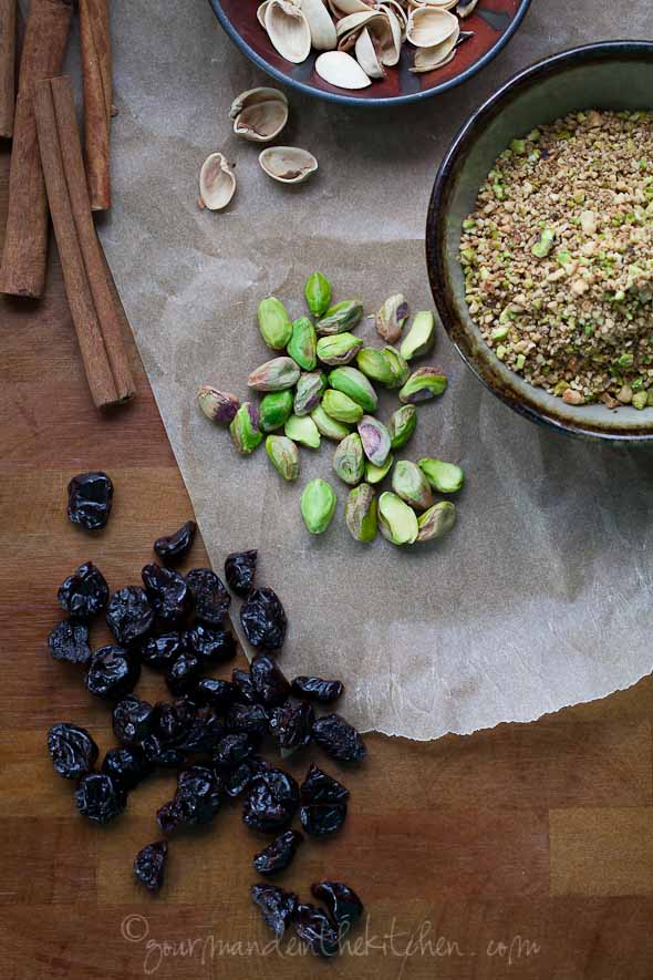 cherries, pistachios, cinnamon