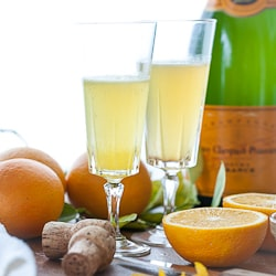 Orange Allspice Mimosa Champagne Cocktail from Gourmande in the Kitchen
