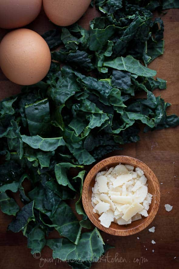 Kale Cheese and Eggs for Garlic and Egg Soup from Gourmande in the Kitchen Winter Greens and Egg Soup | Stracciatella, Aigo Boulido