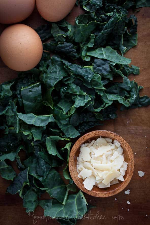 kale, eggs, parmesan
