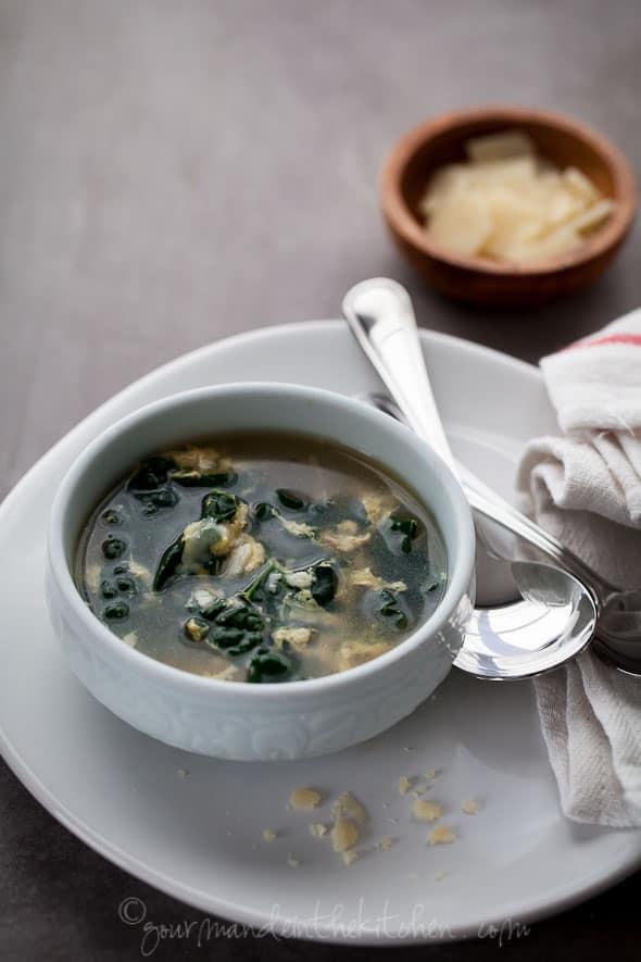 kale soup, egg soup, stracciatella, aigo boulido, soup recipe, paleo recipe, garlic soup