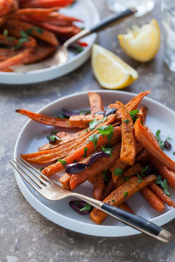 Moroccan Spiced Roasted Sweet Potatoes and Carrots Gourmande in the Kitchen Moroccan Spiced Roasted Sweet Potatoes and Carrots