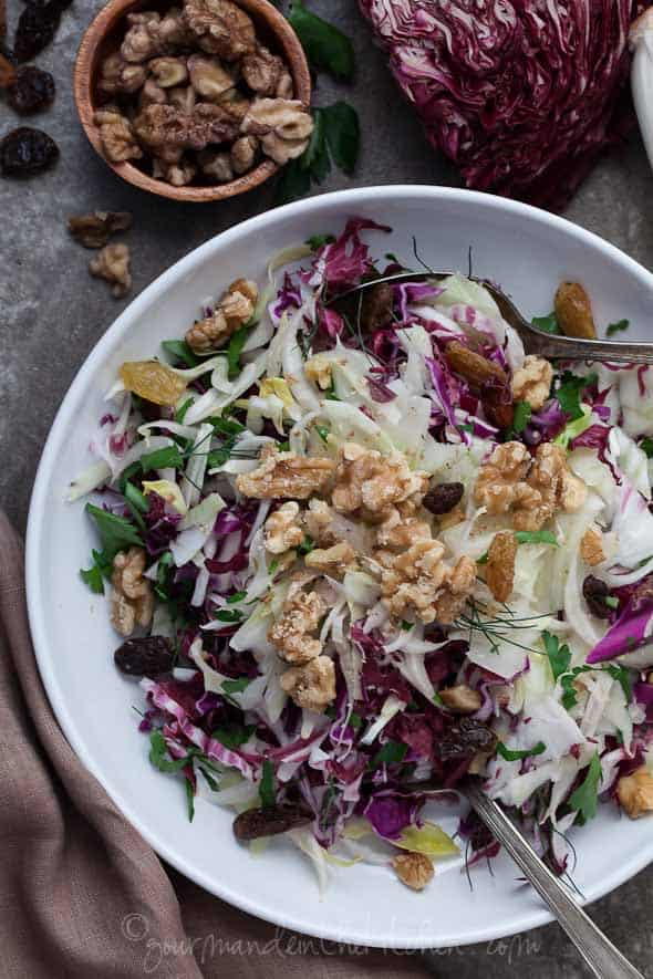 red cabbage, endives, radicchio, salad, recipe, food photography