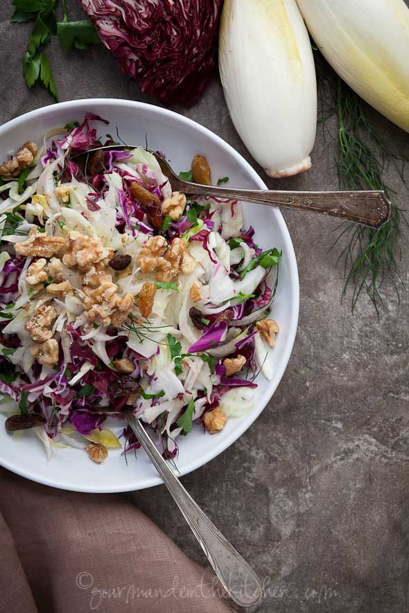 Red Cabbage Radicchio and Endive Salad from Gourmande in the Kitchen Red Cabbage, Radicchio and Endive Salad Recipe | A Winter Salad