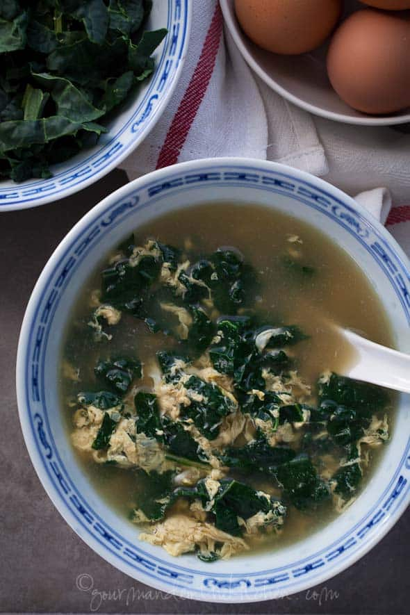 winter greens soup, kale soup, egg soup, straccitatella, egg srop soup, garlic soup