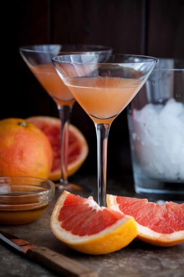Brown Derby Grapefruit Cocktail with Grapefruit Wedges