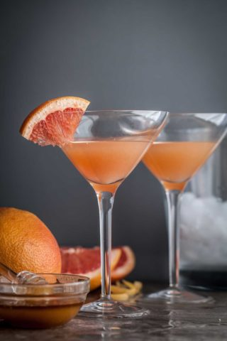 A classic bourbon cocktail made with grapefruit and honey called a Brown Derby.
