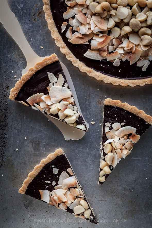 chocolate tart, gluten-free, vegan, paleo, chocolate