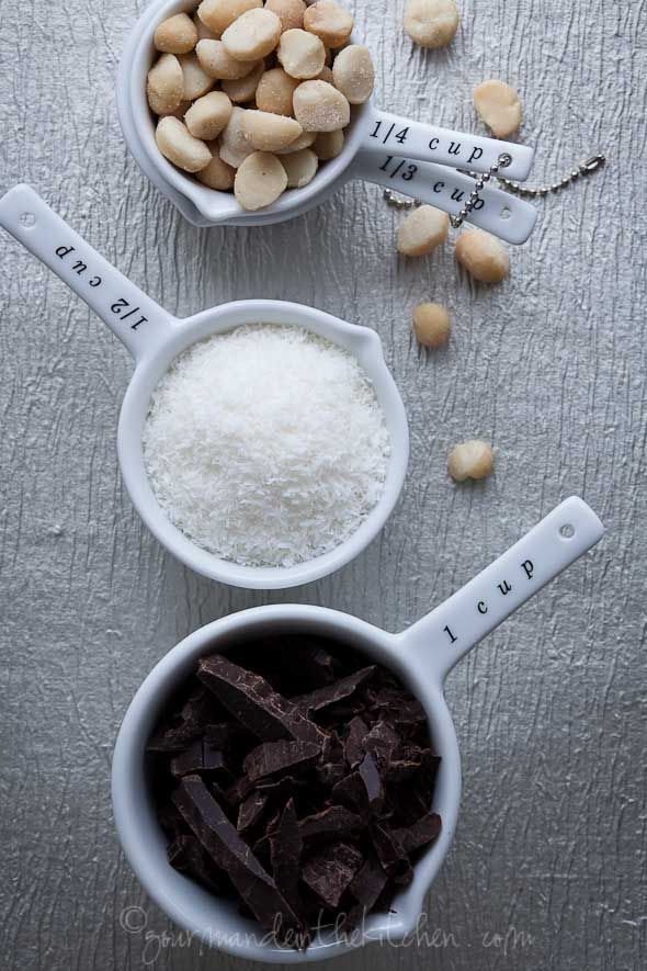 chocolate, coconut, macadamia nuts