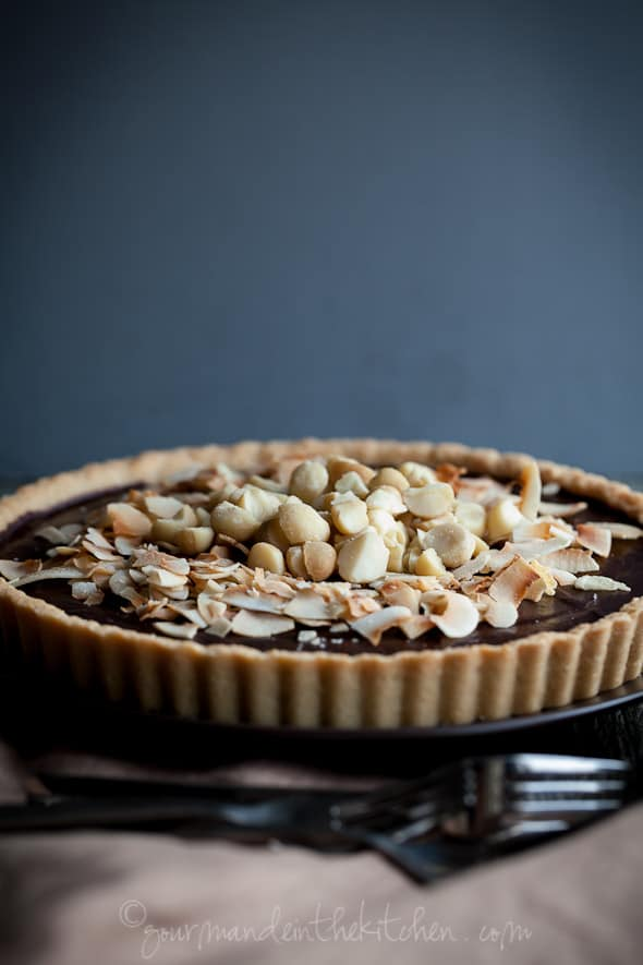 chocolate tart, coconut tart, macadamia nut tart