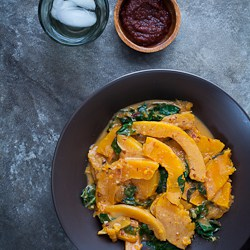 Butternut Squash and Chard in Spicy Harissa Coconut Sauce Recipe