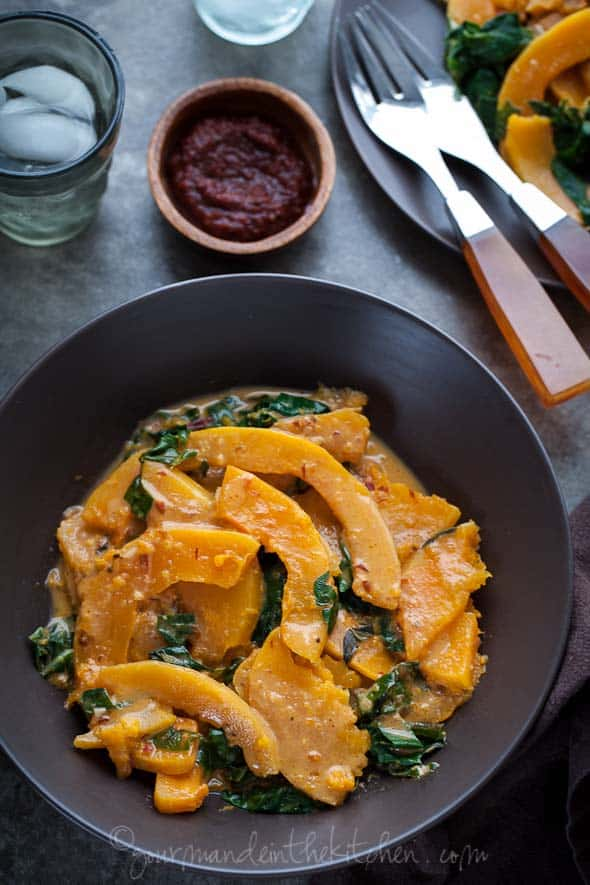 Butternut Squash and Chard in Spicy Coconut Sauce from gourmandeinthekitchen.com  Butternut Squash and Chard in Spicy Harissa Coconut Sauce