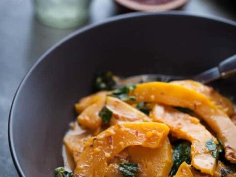 Butternut Squash and Chard in Spicy Coconut Sauce