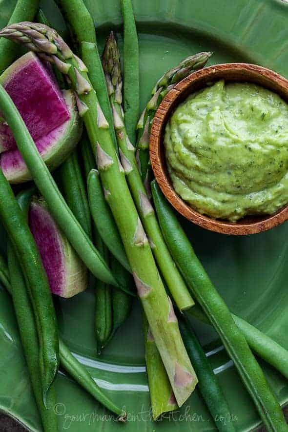 Herb Aioli with Vegetables on plate