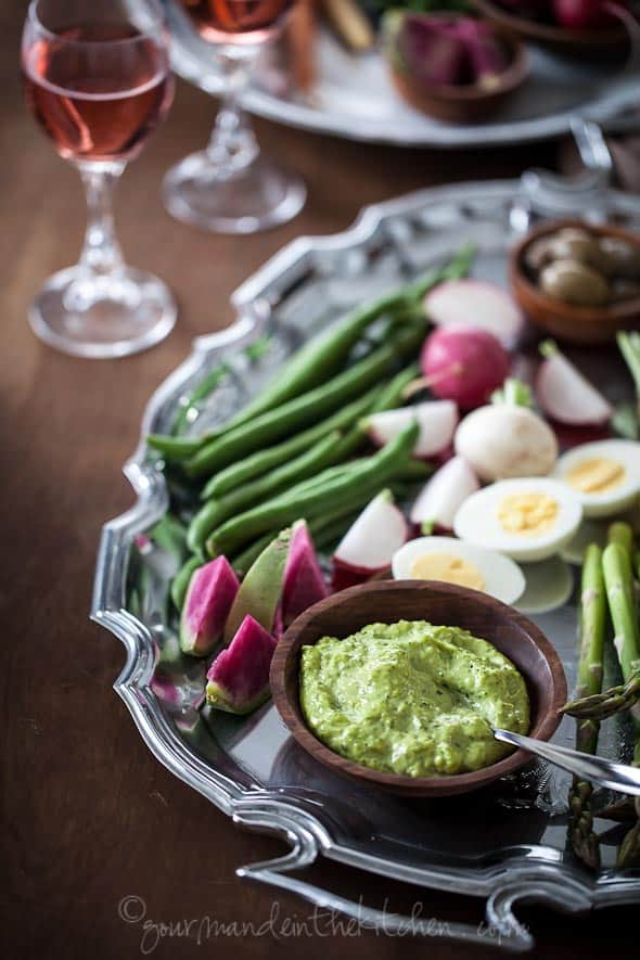 Herb Aioli with Vegetables and Hard Boiled Eggs on servings platter