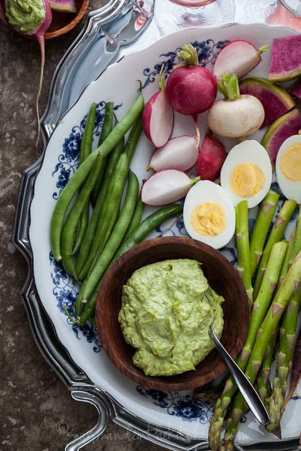 paleo. recipe, Herb Aioli with Vegetables and Hard Boiled Eggs, vegetables, aioli, asparagus, green beans, garlic, radishes, eggs, brunch