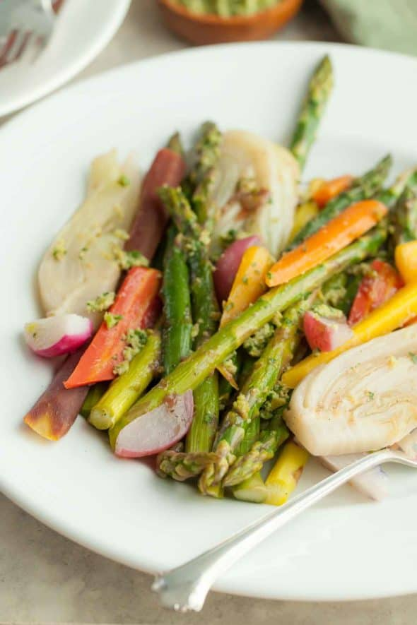 Braised Springtime Vegetables on Plate