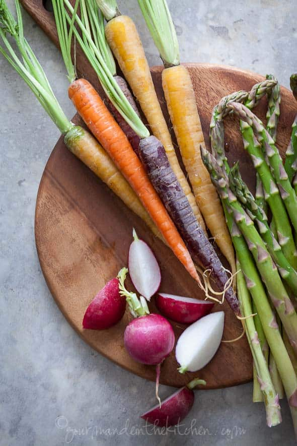 glazed vegetables, easy vegetables side dish, vegetarian dish, paleo side dish, vegetable recipe, glazed carrots, braised radishes