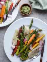 Braised and Glazed Vegetables with Green Olive Pesto (Pistounade)
