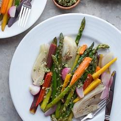 braised vegetables, glazed vegetables, glazed carrots, braised carrots, braised rasdiesh, glazed radishes, paleo vegetable side dish, vegetarian recipe, easy vegetable side dish, pesto, green olives