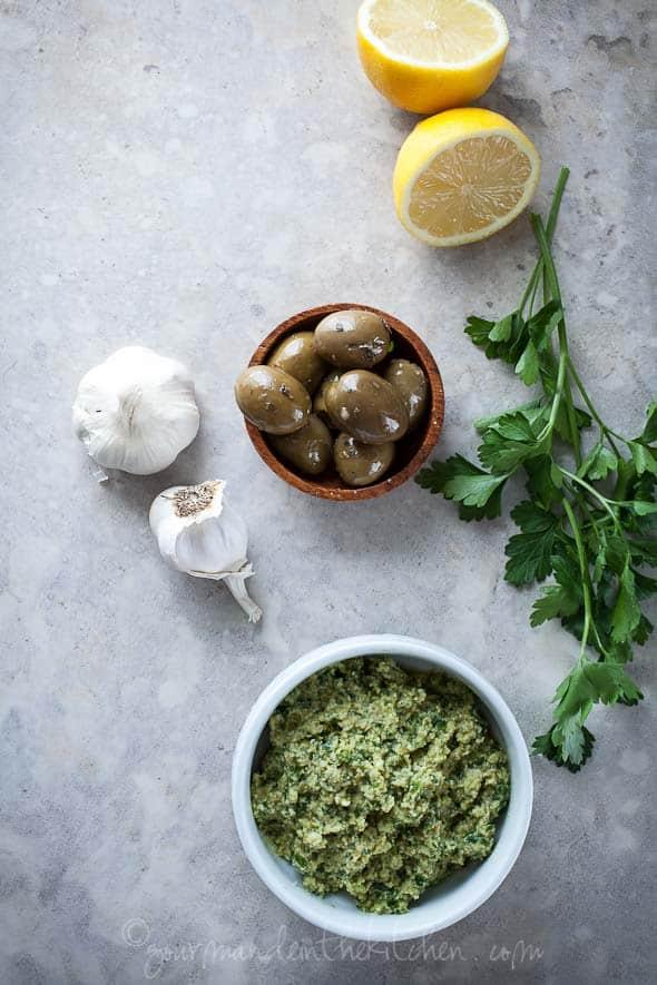 green olive pesto, pistounade, pesto, garlic, lemons