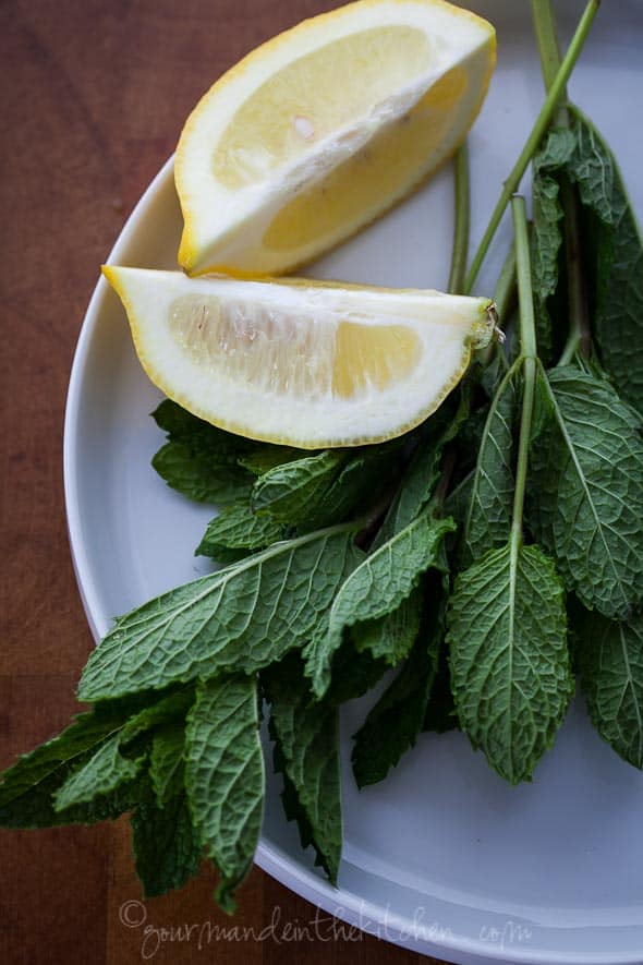 lemon wedges, mint, lemon