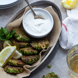 Pea, Mint and Feta Fritters with Yogurt Mint Dipping Sauce (Gluten-Free, Grain-Free)