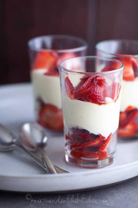 strawberry parfait, strawberry lemon cream parfait, berry lemon parfait, lemon coconut cream parfait with fruit