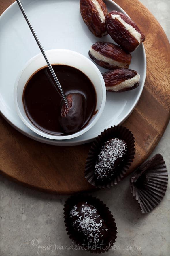 raw chocolate stuffed dates, paleo chocolate dates, vegan coconut dates, coconut dates, chocolate covered dates