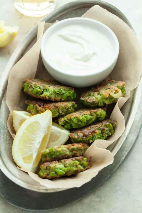 Pea Fritters with Mint and Feta