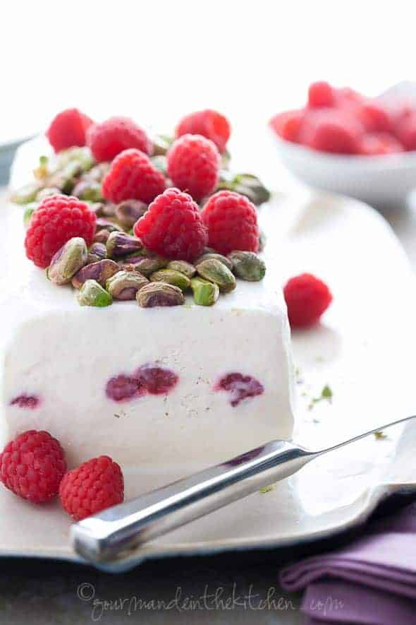 Easy Honey Yogurt Semifreddo with Raspberries and Pistachios from GourmandeintheKitchen.com  Honey Yogurt Semifreddo Recipe with Raspberries and Pistachios