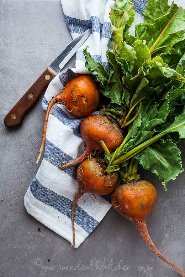 golden beets, yellow beets, beets on dishtowel, beet salad recipe