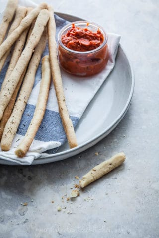 Italian Breadsticks (Grissini) with Slow Roasted Tomato Dipping Sauce (Gluten-Free, Paleo, Vegan)