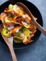 Shaved Golden Beet, Carrot and Radish Salad with Coriander Mustard Vinaigrette