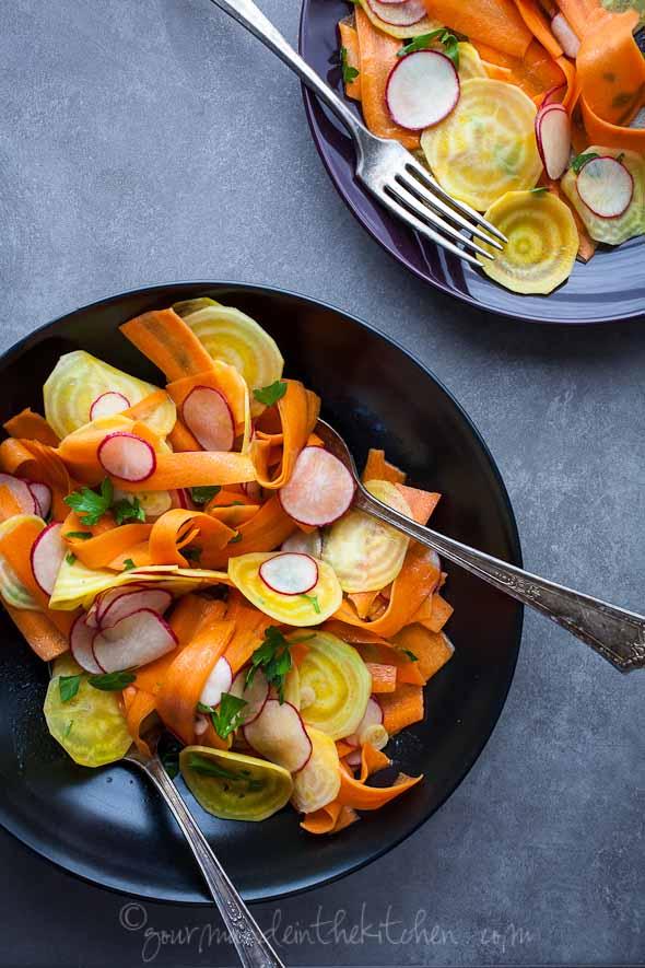 shaved vegetable salad, beet salad, carrot salad, radish salad, root vegetable salad