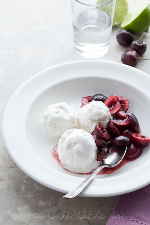 Triple Coconut Sorbet with Cherries from GourmandeintheKitchen.com  Triple Coconut Sorbet Recipe with Kirsch Soaked Cherries