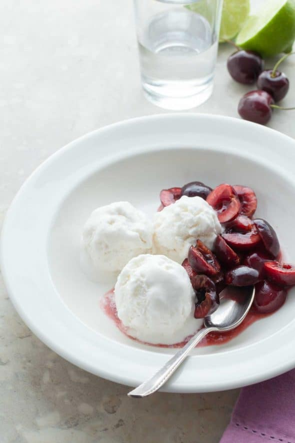Triple Coconut Sorbet with Kirsch Soaked Cherries - With three layers of coconut from coconut milk, shredded coconut and coconut water this triple coconut sorbet is packed with flavor.With three layers of coconut from coconut milk, shredded coconut and coconut water this triple coconut sorbet is packed with flavor.