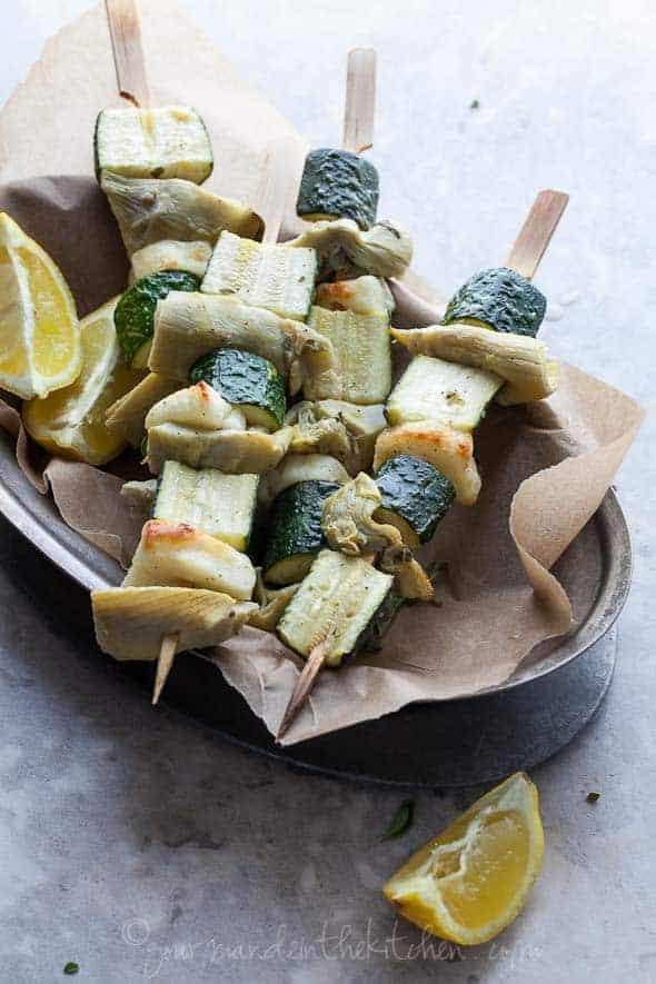 vegetable skewers, vegetable kabobs, vegetables on the grill