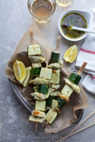 Greek Inspired Zucchini, Halloumi and Artichoke Vegetable Skewers | Vegetables on the Grill