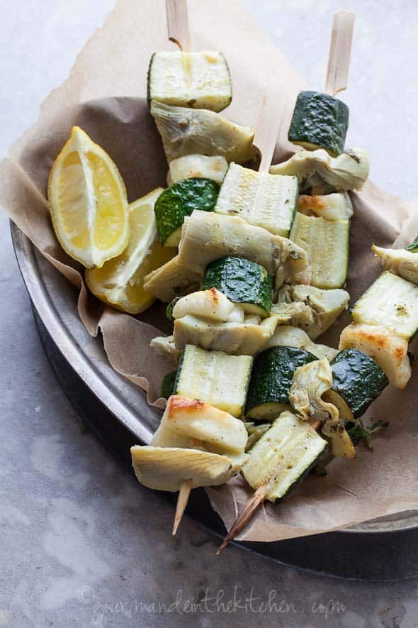 grilled vegetables, halloumi skewers, artichoke skewers, vegetable skewers, vegetable kebobs