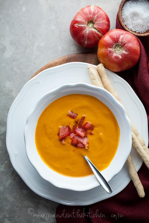 Chilled Double Tomato Soup from Gourmande in the Kitchen Chilled Double Tomato Soup Recipe (Raw, Vegan, Paleo)