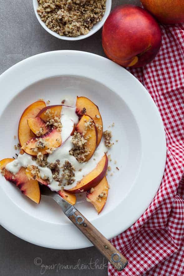 nectarines with walnut crumble, nectarine parfait, vegn dessert, paleo dessert