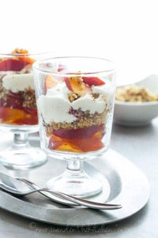 Nectarine Parfaits with Walnut Crumble and Lemon Cashew Cream (Raw, Vegan, Paleo)