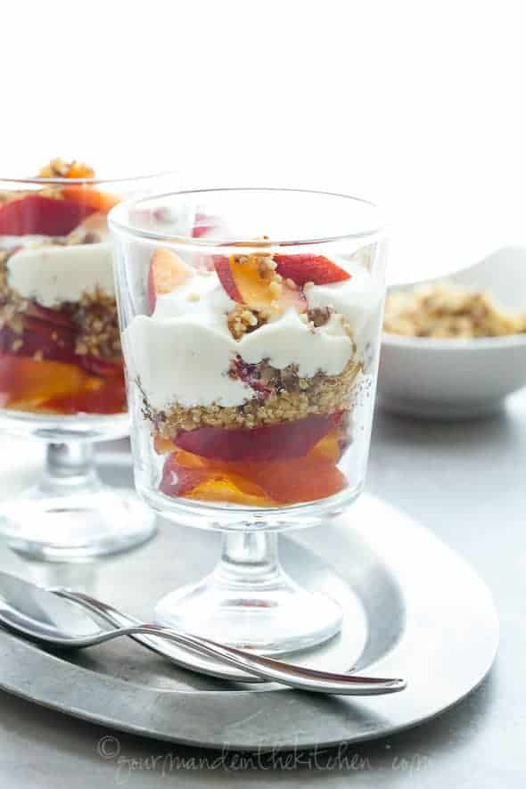fruit parfait, nectarines with nuts and cashew cream