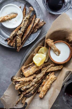 Baked Eggplant Fries with Goat Cheese Dip from gourmandeinthekitchen.com