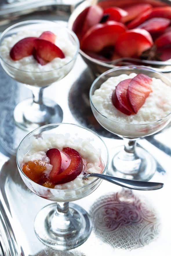 Maple Roasted Plums with Coconut Milk Tapioca Pudding Recipe on gourmandeinthekitchen.com vegan paleo Maple Roasted Plums with Coconut Tapioca Pudding Recipe (Vegan, Paleo Friendly)