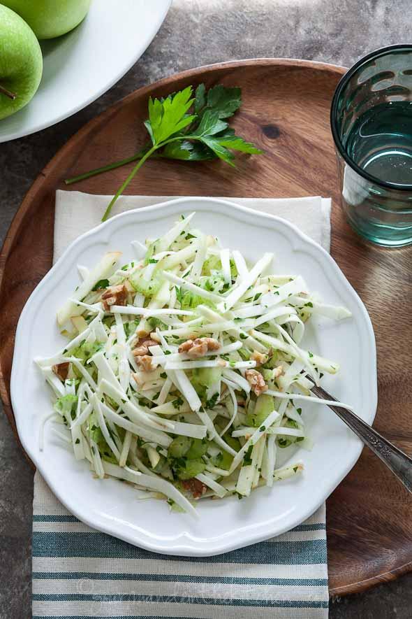 celery root, celery root slaw, celery rooat apple salad, celery root apple slaw