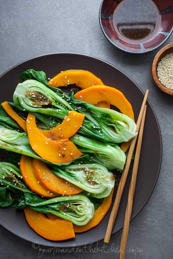 Steamed Pumpkin and Bok Choy with Ginger Sesame Dressing from gourmandeinthekitchen.com  Steamed Pumpkin and Baby Bok Choy with Ginger Sesame Sauce (Vegan, Paleo)